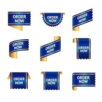 Coleção azul da etiqueta do pedido agora