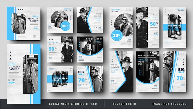 Coleção azul minimalista de histórias e feed post banner template
