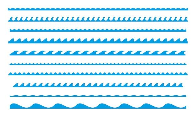 Coleção azul ondulado da borda do mar linha do oceano das ondas da água