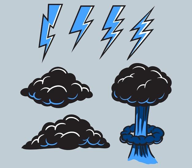 Coleção azul preta do vetor do parafuso e da nuvem.