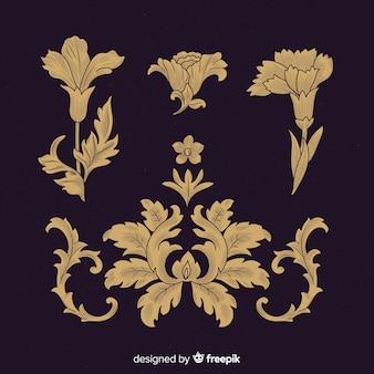 Coleção barroca da flor do vintage