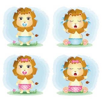 Coleção bebê leão fofo no estilo infantil