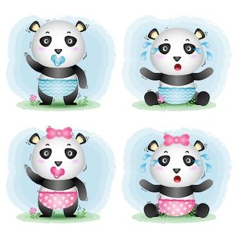 Coleção bebê panda fofo no estilo infantil