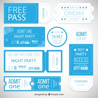 Coleção bilhete de entrada festa
