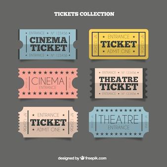 Coleção bilhetes vintage do teatro
