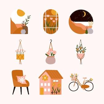 Coleção boêmia janela estética cenário montanhas deserto, sol pôr do sol e lua. vasos de plantas suspensos escandinavos, poltronas confortáveis, casa floral e flor de bicicleta.