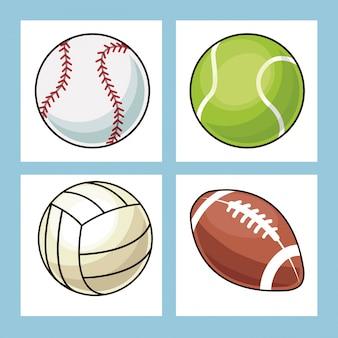 Coleção bolas ícones de esporte