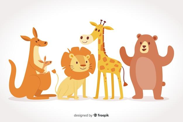 Coleção bonita de animais selvagens