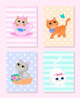 Coleção bonita de cartões dos gatinhos das cores pastel