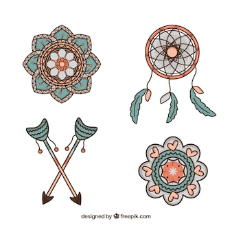 Coleção bonita de elementos étnicos