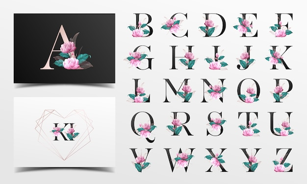 Coleção bonita do alfabeto com decoração floralwatercolor