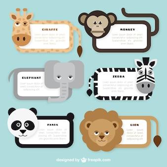 Coleção bonito banners animais