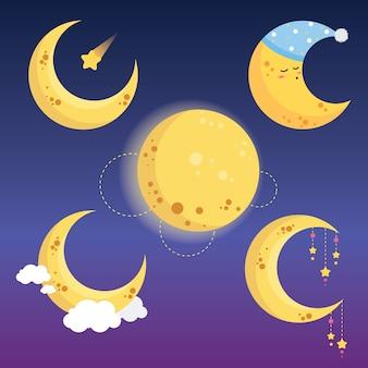 Coleção bonito da lua