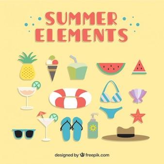 Coleção bonito de elemento de verão no design plano