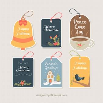 Coleção bonito de etiquetas do natal