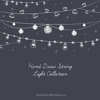 Coleção bonito de luzes cadeia desenhados à mão