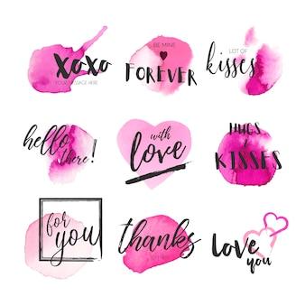 Coleção bonito de mensagens com salpicos de aquarela rosa