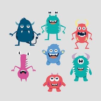 Coleção bonito de monstro de desenhos animados