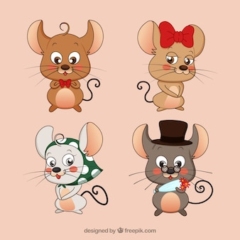 Coleção bonito de ratos de desenho animado