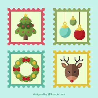 Coleção bonito de selo de natal