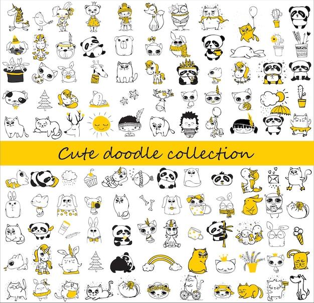 Coleção bonito do doodle. design simples de animais fofos, pássaros, flores e outros elementos de design perfeitos para cartões infantis, banners, adesivos e outras coisas infantis.