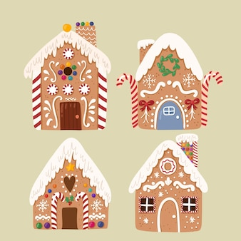 Coleção bonito do vetor da casa de gengibre, doce biscoito tradicional de natal estilo desenhado na mão.