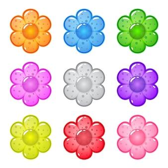 Coleção bonito dos desenhos animados forma brilhante flores com geléia em cores diferentes.