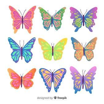 Coleção borboleta colorida