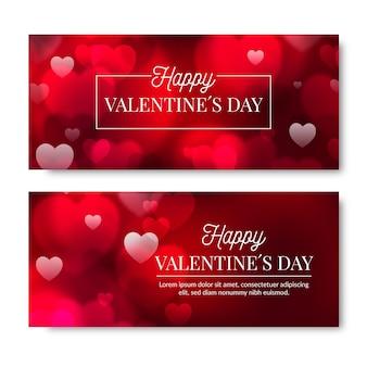 Coleção borrada de banners do dia dos namorados