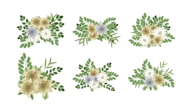 Coleção botânica de arranjos florais silvestres com flores de jardim