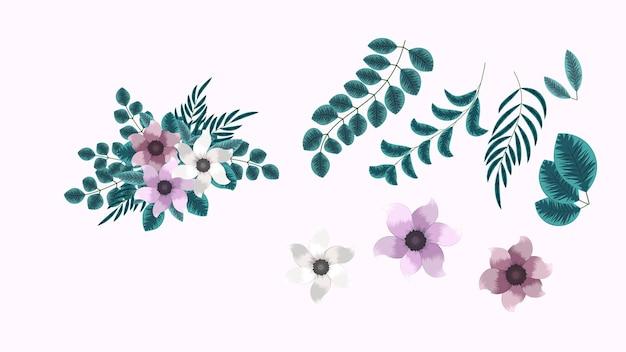Coleção botânica de conjuntos de arranjos florais silvestres com ramos de folhas de ervas de flores de jardim