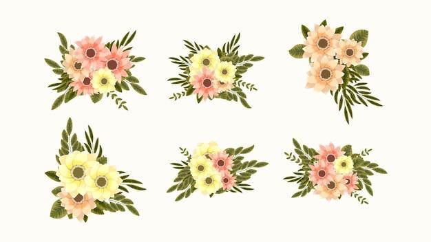 Coleção botânica de conjuntos de arranjos florais silvestres com ramos de folhas de flores de jardim