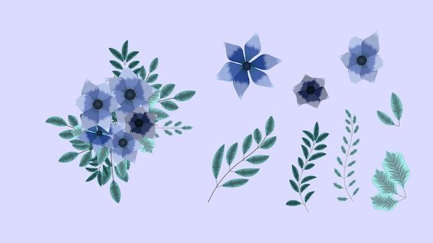 Coleção botânica de elementos florais silvestres com ramo de flores no jardim