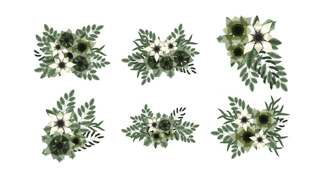 Coleção botânica de ramo floral definido para perfume de cosméticos de beleza