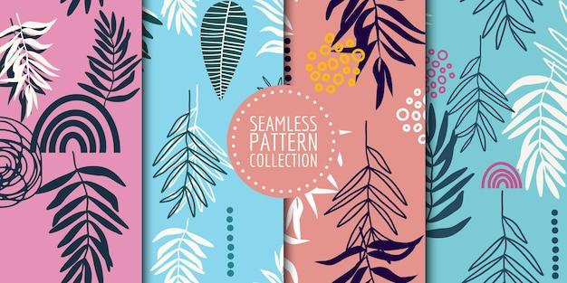 Coleção botânica padrão sem emenda. desenho vetorial para papel, tecido, decoração de interiores e capa
