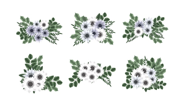 Coleção botânica requintada de arranjos florais silvestres para banners