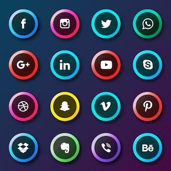 Coleção botões de redes sociais