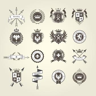 Coleção brasão de armas - emblemas e brasões, crista heráldica com setas do arco