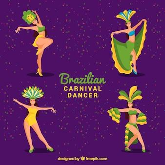 Coleção brasileira plana de dançarinos de carnaval