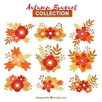 Coleção brilhante de buquês de outono