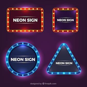 Coleção brilhante de sinais de néon com variedade de modelos