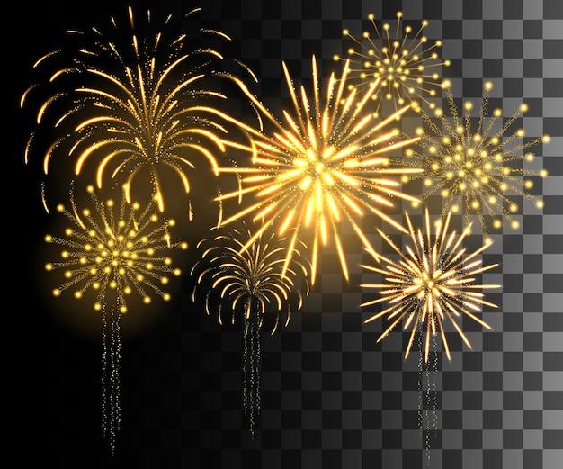 Coleção brilhante. fogo de artifício dourado, efeitos de luz isolados em fundo transparente.