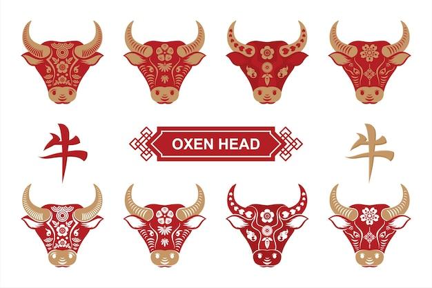 Coleção cabeça de touro com flor chinesa decorativa