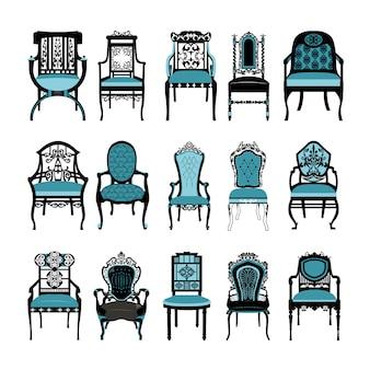 Coleção cadeiras do vintage