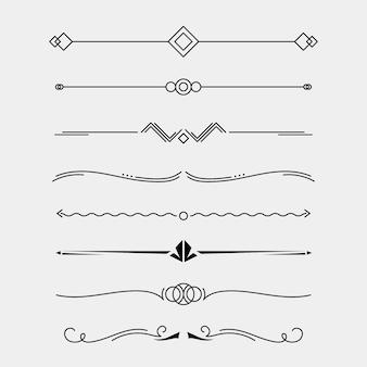 Coleção caligráfica de divisores de linhas ornamentais