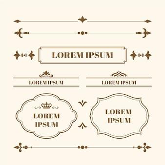 Coleção caligráfica de elementos ornamentais