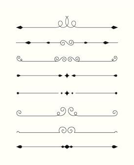Coleção caligráfica divisória ornamental