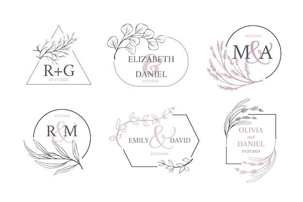 Coleção caligráfica do logotipo do monograma do casamento