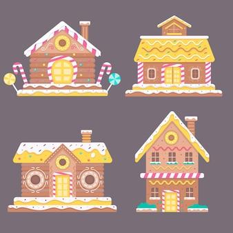 Coleção casa de pão de mel de design plano