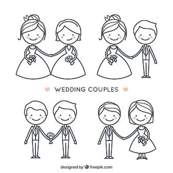 Coleção casal desenhada bonito do casamento mão